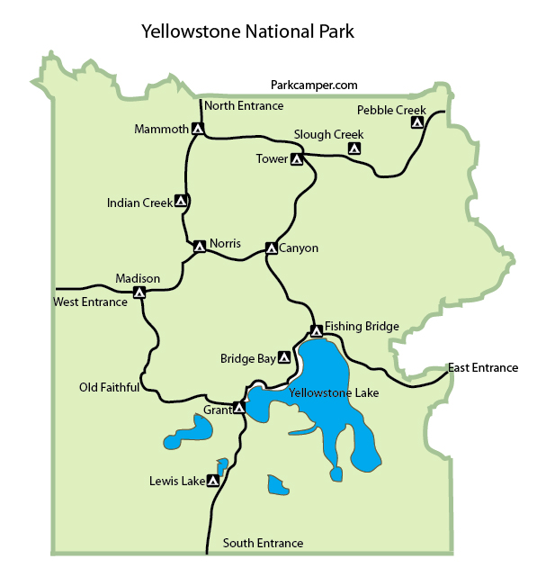 Yellowstone National Park Map - Wyoming